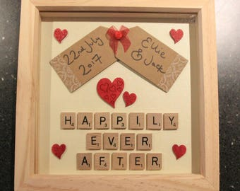 Wedding Frame, Personalised Wedding Frame, Scrabble Art Frame, Keepsake Wedding Frame