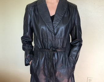 Vintage 1970's The Tannery Montgomery Ward long leather blue ladies coat size medium