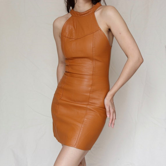 Vintage Leather Mini Dress