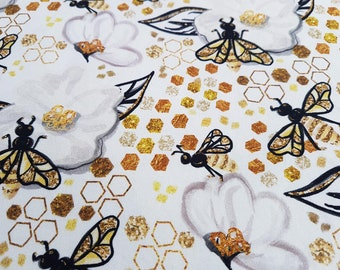 63011e5a6f Bee Fabric by the yard- Knit Fabric - Cotton Lycra Fabric - Floral Fabric -  Stretch Jersey - Bee Lover - Bee Love - Digital Print - Insect
