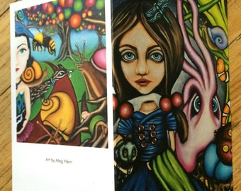 """Surreal art blank greeting cards by Meg Hein. set of 5 """"Jane and bird girl"""""""