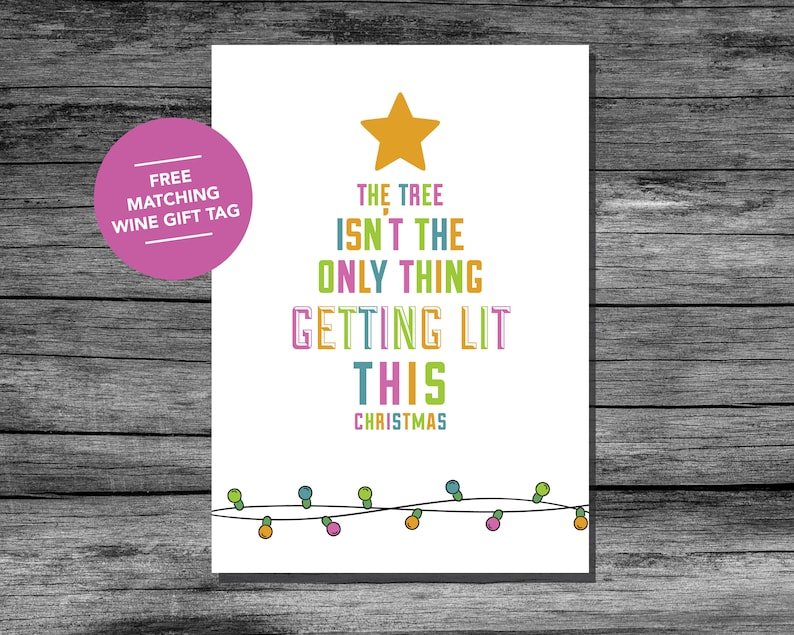 graphic relating to Free Printable Funny Christmas Cards named Get hold of Lit Humorous Printable Xmas Card Wine Supporters Greeting Card 5x7  Amusing Xmas