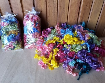 2 oz. Wool Sampler Spring colors Dyed Locks for Needle Felting/small doll hair/2D Wool Painting 2 oz bag