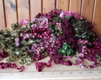 2 oz Curly Wool Lock Sampler Deep Vineyard colors Dyed  for Needle Felting/small doll hair/2D Wool Painting Woodland