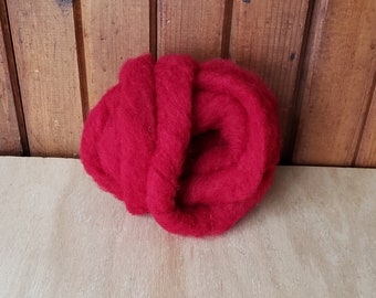 1 oz. Core Wool roving Red  needle felting wool