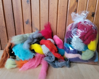 3 oz. Wool sampler dyed roving assorted colors bits and pieces for Needle Felting/2D Wool Painting