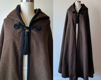 a43e73f630f 70s Saint Laurent cape / Rive Gauche 1976 Russian collection brown wool  hooded long cape with tassels /Yves Saint Laurent