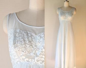 2f0a1a8c4 60 s chiffon negligee   Shadowline pale blue and lace chiffon long nightgown  size small