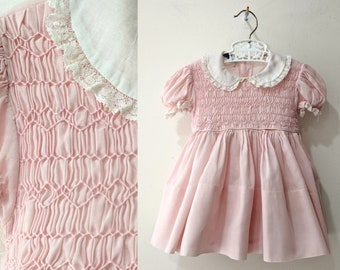 126f1ef3cfc8 50s Polly Flinders dress / pink hand smocked fit and flare girls dress with  attached tulle petticoat size 1