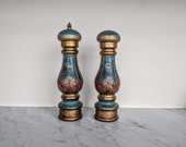 large 60's Florentine salt and pepper mill / gilt blue and red tall salt and pepper shakers made in Italy