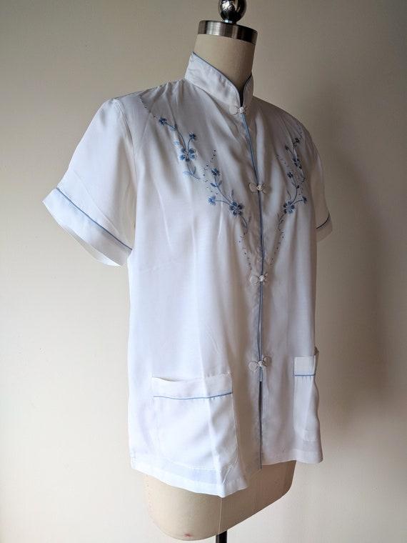 Vintage silk pajamas / asian silk lounge wear / S… - image 5