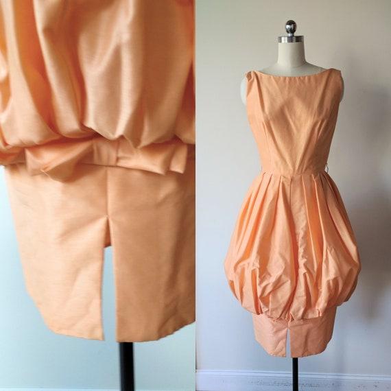 50's bubble dress/ Natlynn Apricot cocktail dress