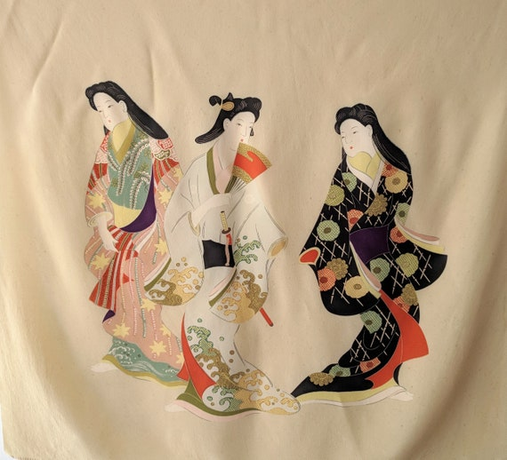 Vintage Geisha wrapping cloth / japanese geisha sc