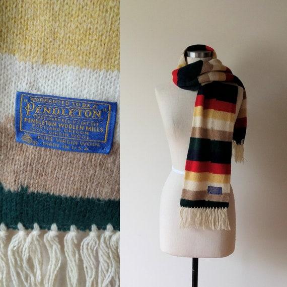 60's Pendleton scarf / striped wool preppy fringed