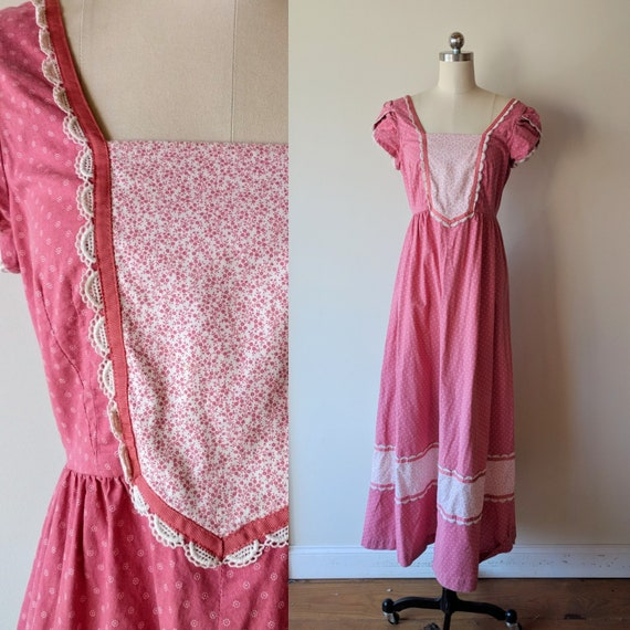 70s praire dress / hippie Maxi peasant dress/ Hawa
