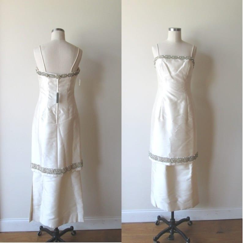 0eab63c6d5 60 s evening dress   NWT beaded white satin full length
