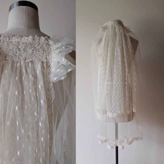 70's Gunne Sax wedding veil / Romantic Renaissance