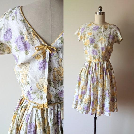 50's dress /Serbin pastel watercolor rose floral f