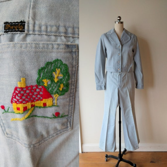 60s-70s hand embroidered Wrangler jeans with match