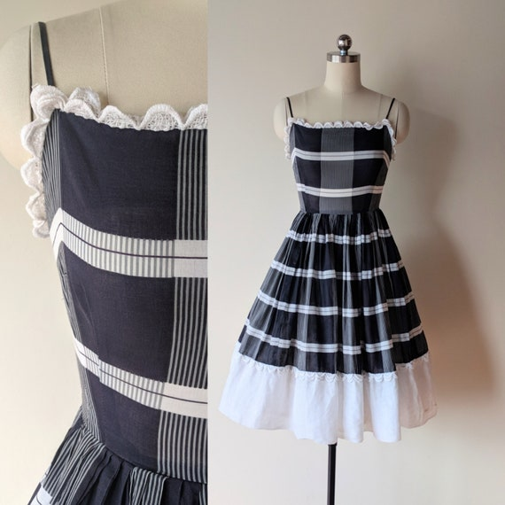50's dress /Kerrybrooke cotton black white striped