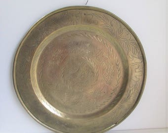 """Vintage Large Etched brass tray / Heavy 16"""" diameter solid brass round tray with Asian design"""
