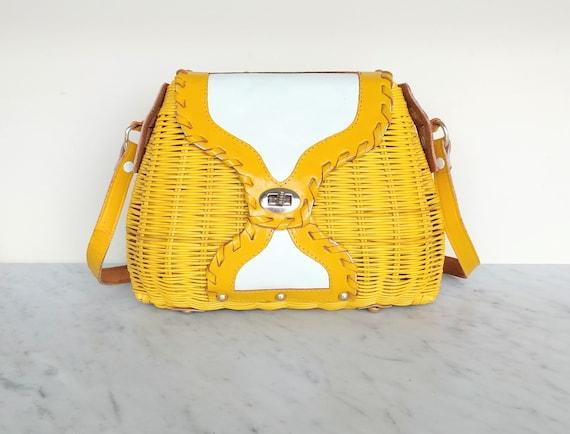 60's wicker purse / Marchioness for Macy Co / mod
