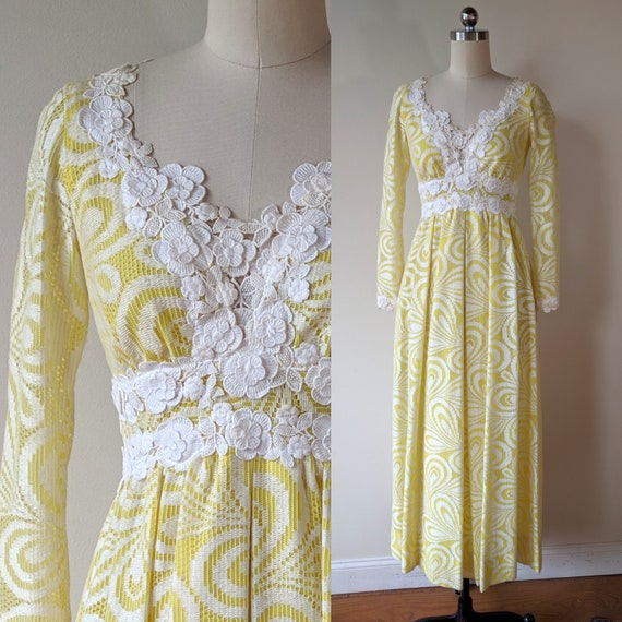 60's maxi dress / Lillie Rubin yellow and white la