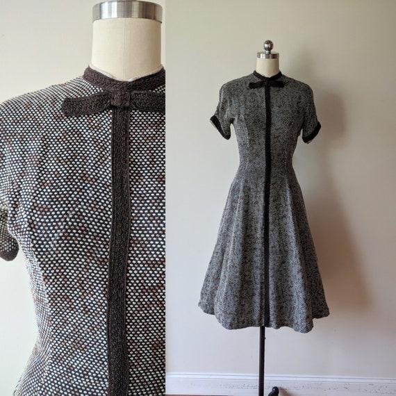 50's dress /Junior First knit check dress/ tea len