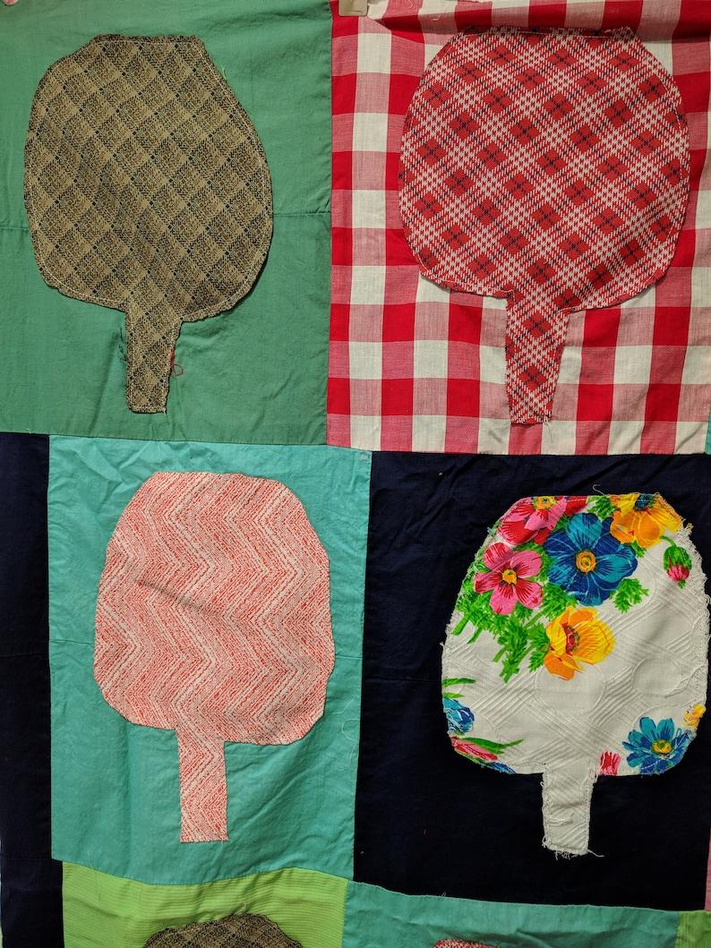 60/'s-70/'s Phsychedelic Quilt  color block quilt top op art fiber wall art