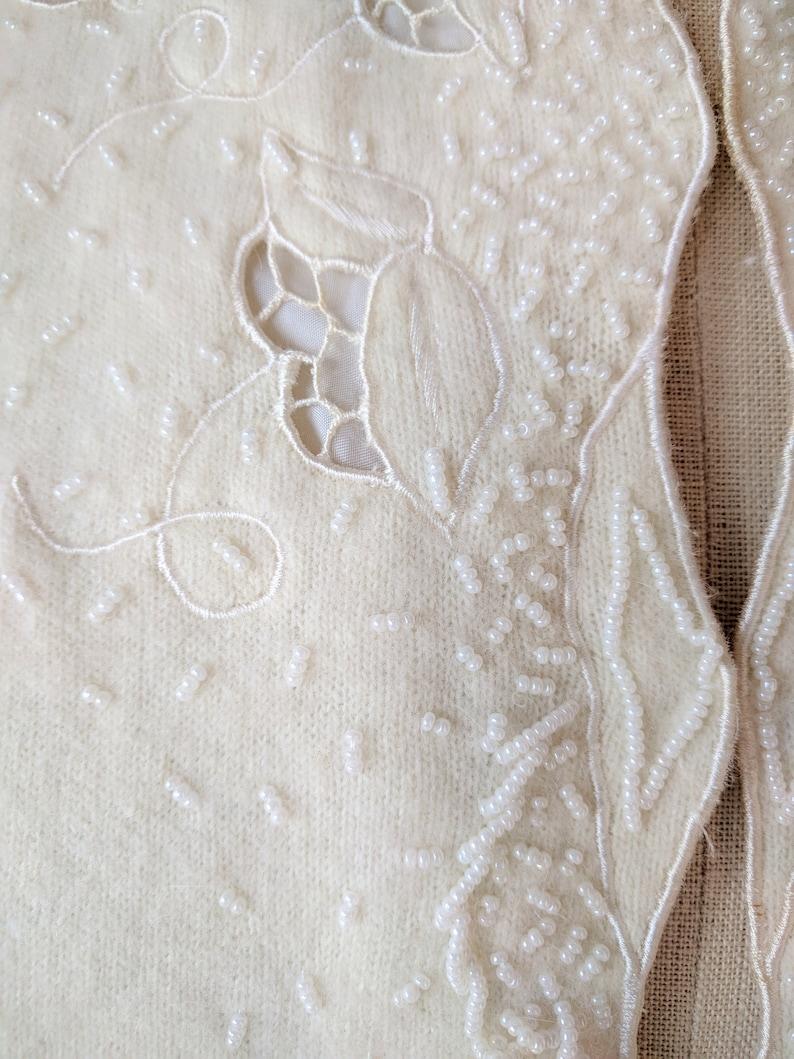 50/'s beaded sweater  lambs wool off white beaded cutwork cardigan sweater by Contemporary Classics size smallmedium