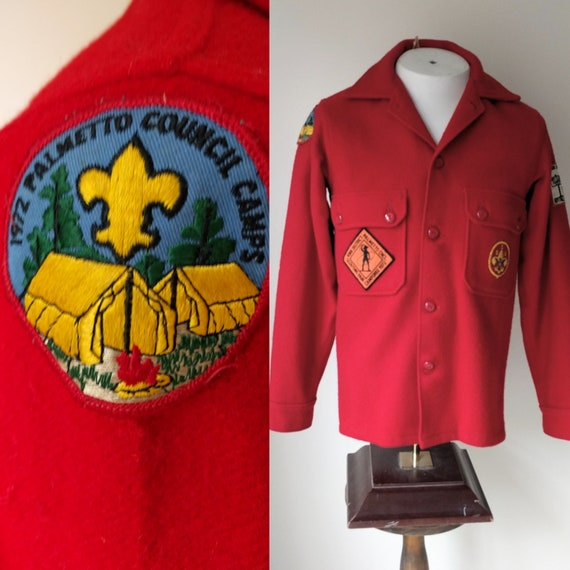 1971 Boy Scout jacket/ official red wool boy scout