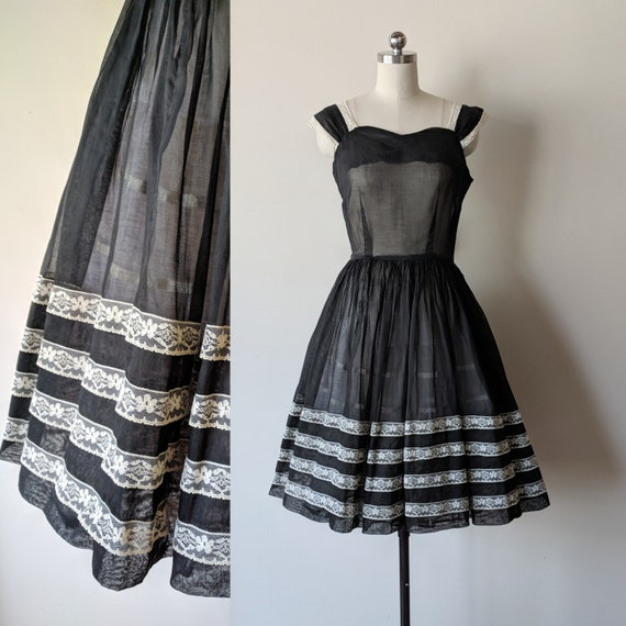 50's dress / sheer organdy black dress with lace t