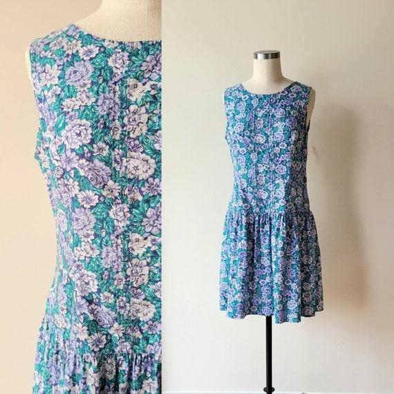 90s Laura Ashley dress / rose floral  / cotton La… - image 1
