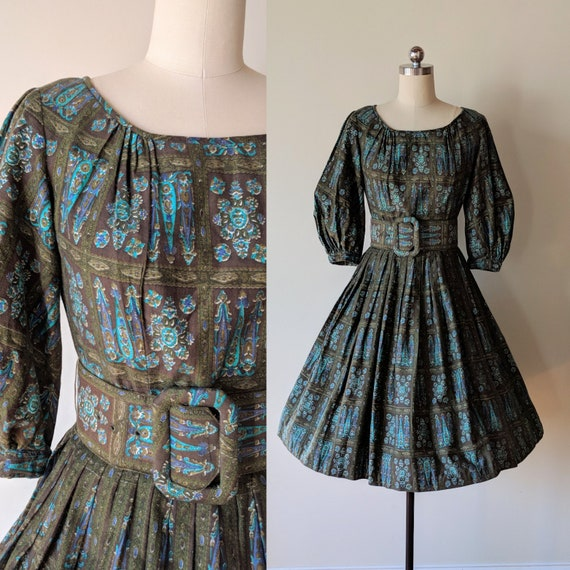 50s dress/ Bohemian peasant dress / flannel cotton