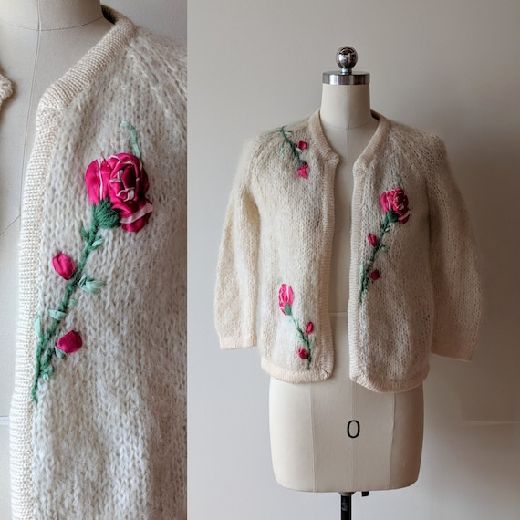 50's mohair applique sweater /  sweater with roses