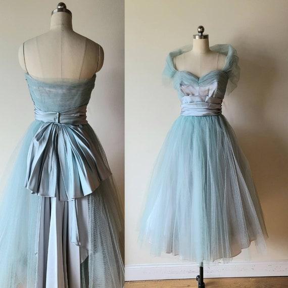 50's tulle dress / Will Steinman  ice blue satin a