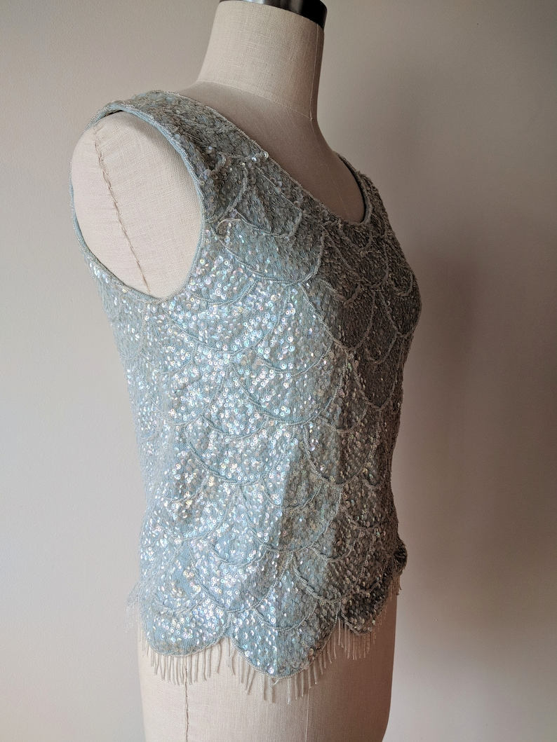 60/'s Sequined top wool sleeveless beaded and sequined shell  shimmer tank topmade in Hong Kong size small