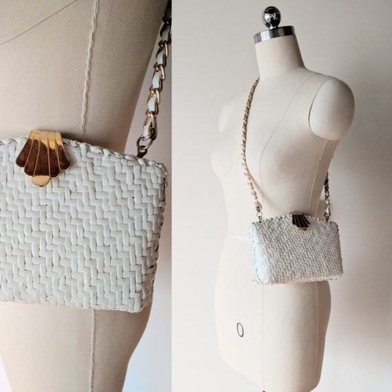 60's wicker purse / painted willow white shoulder
