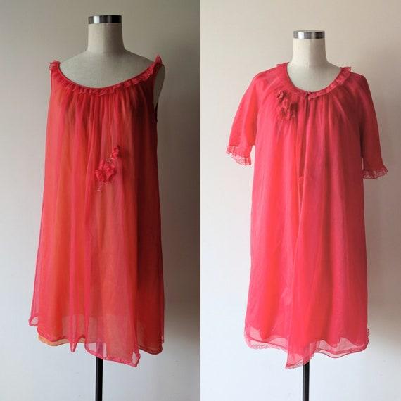 50's lingerie / Vanity Fair Red Chiffon Lingerie s