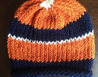 ee4999ccd40 Navy orange beanie