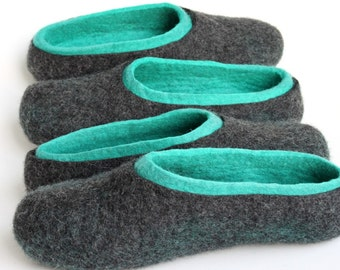 His and her slippers family / Felted  wool  couple slippers /  / ecological felt slippers for couple