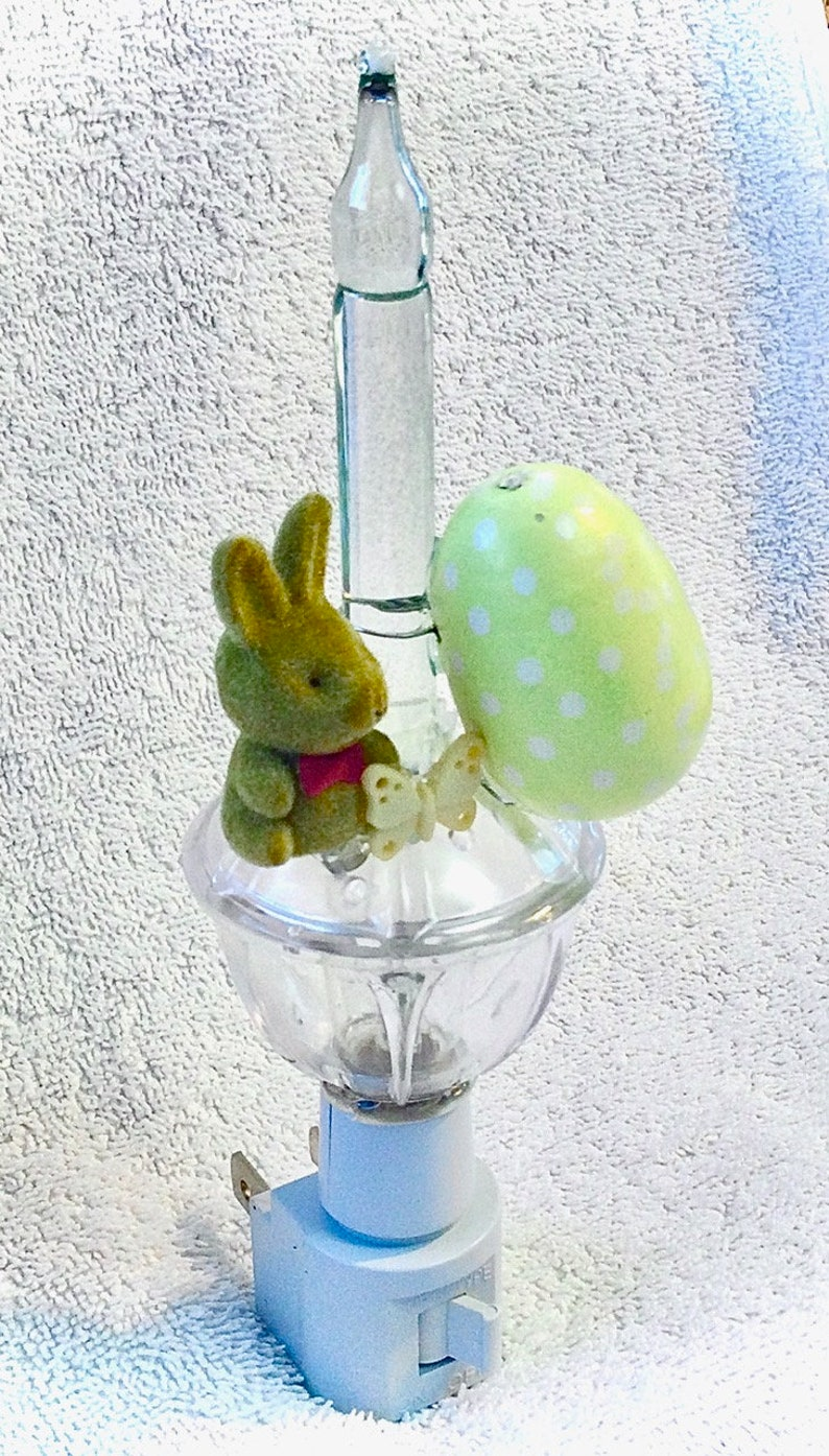Brown Fuzzy Easter Bunny Bubble Light with Pale Yellow Painted Egg /& Butterfly Bunny Bubble Lamp Spring Easter Gift Crafted Night Light