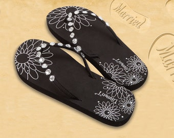 7fd98bdf8d1f2 Just Married White - Black - Pink Flip Flops Wedding Bride beach Diamante  Crystals