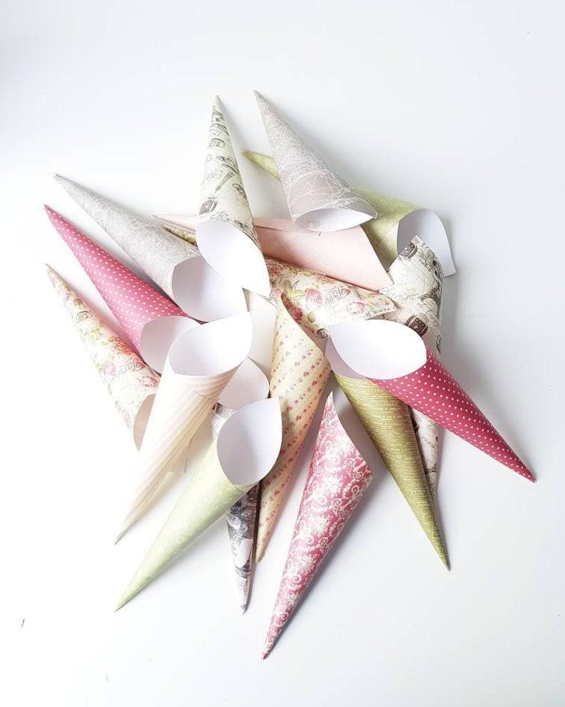 wedding confetti cones Slim size Paris  French themed confetti cones chic wedding paper cones flower petal holder