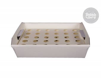Confetti Cone Tray - Ivory + 30 Ivory/Brown / White Laser cutted confetti cones - flower-heart designed