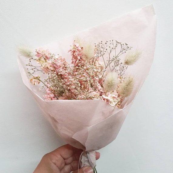 Mini Dried Flower Bouquet Pink Etsy