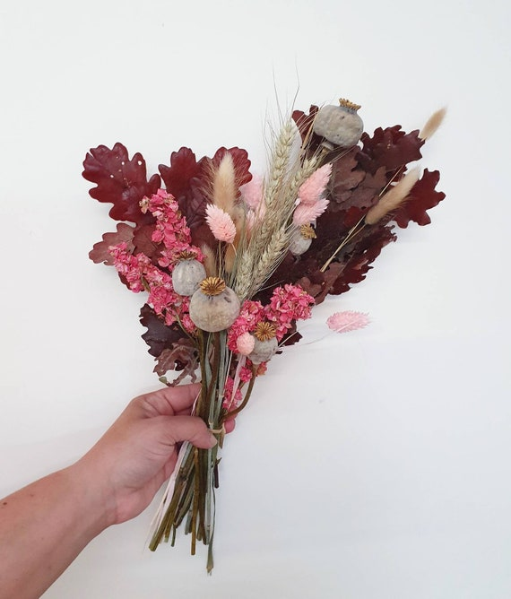 Dried Flower Bouquet Burgundy And Pink Etsy