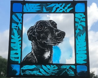 Custom Dog or Cat Pet Portrait in Stained Glass, Permanent and Fadeproof