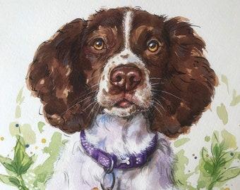 Custom pet portrait painting watercolour dogs cats