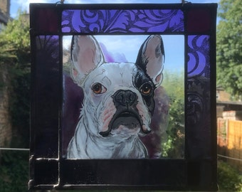 Custom Dog or Cat Pet Portrait in Stained Glass. Permanent and Fadeproof.